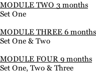 MODULE TWO 3 months Set One   MODULE THREE 6 months Set One & Two  MODULE FOUR 9 months Set One, Two & Three